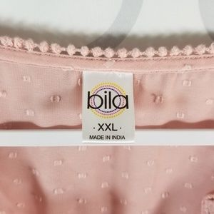 Bila Tops - Bila Blouse XXL Pink 3/4 Sleeve Sheer V Neck Top